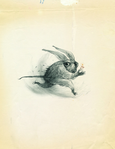 A scared looking rabbit-like creature runs across the image, in its hands is a small bird wearing a crown