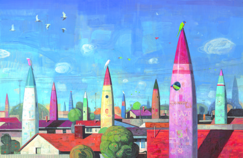 A colour image of a the rooves of suburban houses, interspersed with the rocket ships of all different colours, birds fly in the sky