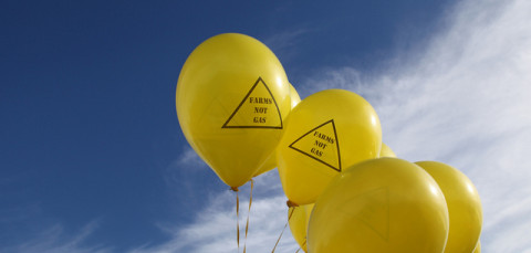 Yellow balloons with slogan: 'Farms not gas'.