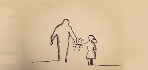 silhouette of father and daughter walking hand in hand