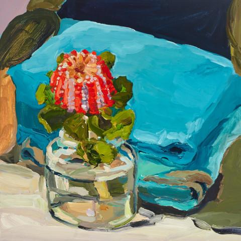 Laura Jones, Scarlet Banksia, 2015, oil on linen, 41 x 41 cm