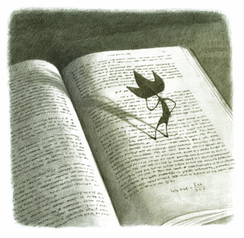 A book lies open on a table.  Standing on the pages of the book is a small black character with three points on its head.